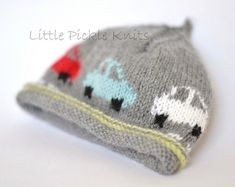 A cute beanie knitting pattern with little intarsia cars that drive all around the hat ….broom broom! The perfect little picture knit for little boys!