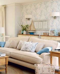 Soft Blue Branches Wallpaper | Pussy Willow Off White/Seaspray