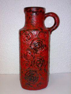 Modernist Vase Scheurich 482-28 Jura Snails Fossil Red Black Fat Lava Era 60s °°