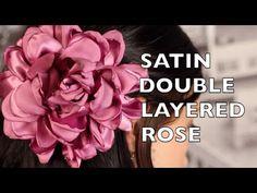 DIY Elegant Satin Singed Double Layered Rose Hair Flower. Tutorial for a gorgeous handmade rose hair flower. A beautiful wild rose hair accessory that makes ...