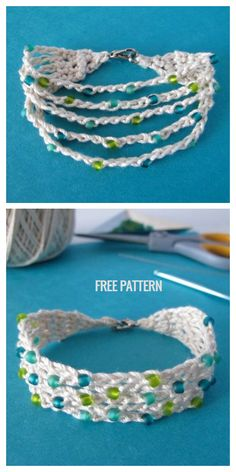 Crochet Bracelet Pattern, Crochet Jewelry Patterns, Crochet Beaded Bracelets, Bead Crochet Rope, Crochet Designs, Crochet Accessories, Beading Patterns, Beaded Crochet, Diy Crochet Jewelry