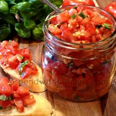 Garden Fresh Bruschetta - the only deviation I make with my recipe is I omit garlic and use lemon juice instead of vinegar. To get the garlic taste, I slice and toast my baguette and take a clove of fresh garlic and rub it directly on the toasted surface of each slice.