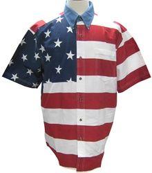 Roper Men's Woven Short Sleeve American Flag Shirt | TheFlagShirt.com