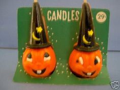 Vintage Gurley Halloween jack-o-lantern candles; Retro Halloween, Halloween Eve, Vintage Halloween Images, Vintage Halloween Decorations, Halloween Items, Halloween Season, Halloween Party Decor, Vintage Holiday, Holidays Halloween