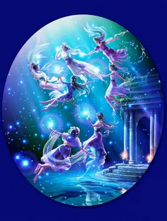 We are the Pleiades,  serving for Artemis, the goddess of the moon.  We are seven sisters,  twinkling all in one, above the back of Taurus.    We are dancing for the moon.  We are shining in the sky.  Flapping the tails of cloths.    Art by Kagaya.