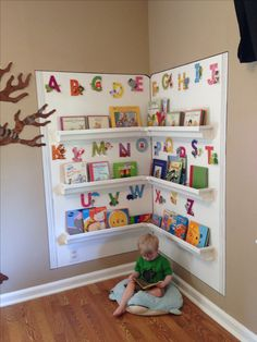 My husband and I made this cozy reading corner for my in-home Childcare. Made with rain gutters.