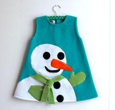 Robe 8 ou 10 ans polaire turquoise et bonhomme de neige : Mode filles par heliecreative
