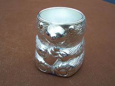 Used Silver Plate Teddy Bear Egg Cup
