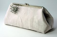 White and Ivory Bridal Clutch Handbag with by BonneAmieBoutique, $55.00