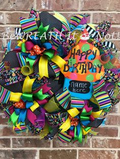 Your place to buy and sell all things handmade Wreath Crafts, Diy Wreath, Wreath Ideas, Birthday Door, Happy Birthday, Deco Mesh Wreaths, Door Wreaths, Cupcake Wreath, Tutu Wreath
