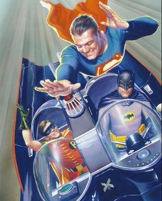 George Reeves Superman with Adam West Batman and Burt Ward Robin Art by Alex Ross Alex Ross, Comic Book Heroes, Comic Books Art, Comic Art, Batman Y Superman, Batman Robin, Batman 1966, Superman Artwork, Batman Poster