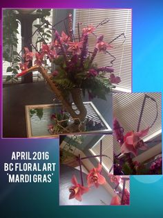 Program was Mardi Gras. Mardi Gras means to me music, horns and Jazz! Mardi Gras, Horns, Ladder Decor, Jazz, Floral Design, Bee, Music, Plants, Home Decor