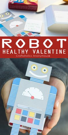 Robot Valentine printable that holds a box of Raisins for a Healthy Valentine idea