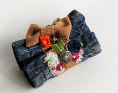 Upcycled Denim Cuff Bracelet made from Recycled Blue Jeans - Beads, Buttons and Bows. $18.00, via Etsy.