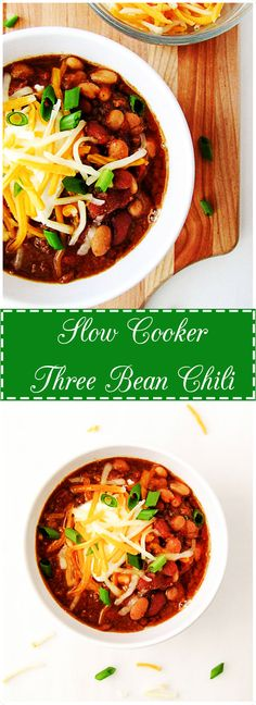 Slow Cooker Three Bean Chili is the perfect, no-fuss meal on a cold winter day.  It's warm, hearty, filling, and simple to make.  Add your favorite toppings to make multiple variations of this must have dish.   via @berlyskitchen