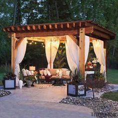 Diy Pergola, Building A Pergola, Wooden Pergola, Outdoor Pergola, Pergola Shade, Pergola Ideas, Pergola With Curtains, Pergola Lighting, Backyard Shade