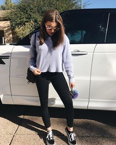 When I drive off I want to look EXACTLY like Kalani! Love the cropped sweater!