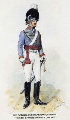 British; 3rd Bengal European Cavalry, 1809 by R.Simkin. This regiment was the forebearer of 21st Lancers