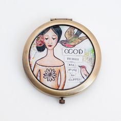 Compact Mirror - Positive Affirmation - Inspirational Gift - Best Friend Gift - Gift for Wife - Bridesmaid Mirror - Good Things - Motivation