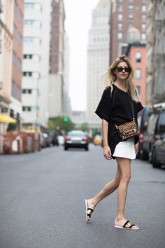 Shirt-dress: Rag  Bone || Skirt: Rag  Bone (similar here) || Bag: A.L.C.  || Slides: Zara   shoes for fat feet!!