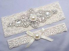 Ivory Bridal Garter Set, Crystal Rhinestone Pearl Keepsake / Toss ...