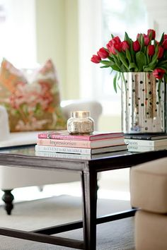 Coffee Table Styling | sweet + simple | metal cylinder vase + tulips + candle