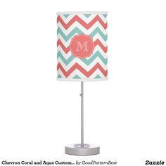 Chevron Coral and Aqua Custom Name Table Lamp