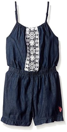 16577b4f6b31 U.S. Polo Assn. Girls  Chambray Short Romper with Lace Trim -- Review more