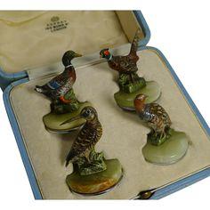 Rare Cold Painted Bronze Fowl & Game Bird Menu Holders by Asprey, London Menu Holders, Game Birds, Green Onyx, Bronze Sculpture, Ruby Lane, Metal Working, Tablescapes, Art Decor, Hedgehog