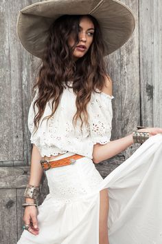 The Bambi Off the Shoulder Top -  This is a simple, off-the-shoulder white top inspired by Mexican Women's traditional shirts. The white broderie anglaise cotton features delicate floral detailing. | Medium: 100% cotton | Design: Spell Designs... $102.00... (129.00 AUD)