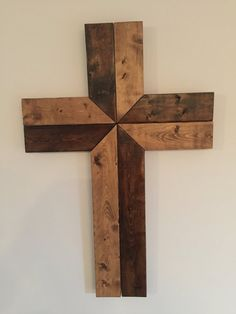 Wood Wall Cross Wood Cross Cross Wall Art by KinNixIndustrial Wall Crosses Diy, Cross Wall Art, Cross Wall Decor, Wooden Crosses, Crosses Decor, Diy Wood Wall, Reclaimed Wood Wall Art, Diy Wall Art, Wood Art