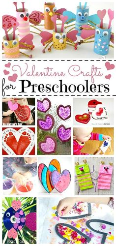 Easy Valentine Crafts for Preschoolers. An extensive collection of ideas from paper plate heart weaving, to toddler Valentine's cards, to handprint crafts. Kids Crafts, Valentines Day Crafts For Preschoolers, Preschool Valentine Crafts, Valentines Day Activities, Crafts For Girls, Valentine Day Crafts, Toddler Crafts, Holiday Crafts, Crafts With Toddlers