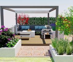 Sfeerimpressie tuinontwerp  moderne stadstuin 2-onder-1-kap woning. Met een romantische zithoek onder een pergola met schaduwdoek. Voorzien van luxe lounge hoekbank en gas openhaard tafel.