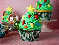 Christmas Tree Cupcakes  (Addey and I share. She eats the icing and I eat the cake. It's perfect!)