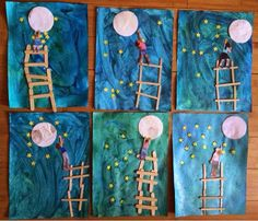 Hoopla and Hilarity crafts kids preschool classroom Recycled Crafts Kids, Crafts For Kids, Arts And Crafts, Summer Crafts, Kindergarten Art, Preschool Crafts, Moon Crafts, Preschool Activities, Preschool Classroom