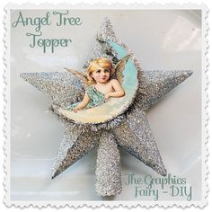 How to Make an Angel Tree Topper - using an inexpensive ornament from the Dollar Store! Free Angel printable is included!