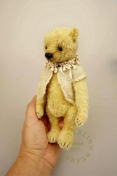 Pierrot OOAK Yellow Gold Mohair Artist Teddy Bear by aerlinnbears