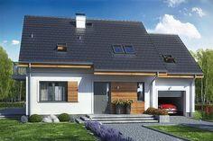 projekt Jaskółka 2 z garażem WRL1052 Beautiful House Plans, Beautiful Homes, Wooden Pallet Furniture, Micro House, Red Bricks, Home Fashion, Minimalist Home, Architecture Design, Facade