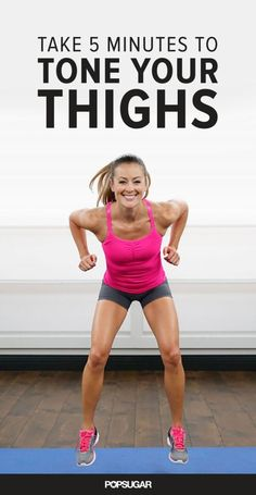 Say goodbye to cottage cheese thighs with this quick 5-minute workout sequence that targets your upper legs.