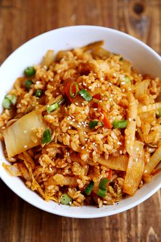 Kimchi Fried Rice- add fried egg on top :) Healthy Chicken Recipes, Rice Recipes, Healthy Dinner Recipes, Asian Recipes, Cooking Recipes, Healthy Food, Keto Chicken, Meal Recipes, Eating Healthy