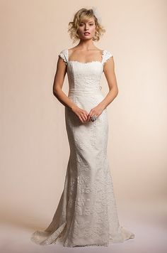 Amy Kuschel lace wedding dress with straps, 2013