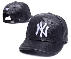 Men s   Women s New York Yankees Faux Animal Leather MLB Dad Hat - Black    White 82539c529d3