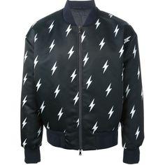 NEIL BARRETT lightning bolt print jacket (5.307.445 COP) ❤ liked on Polyvore featuring men's fashion, men's clothing, men's outerwear, men's jackets, old navy mens jackets and mens leopard print jacket