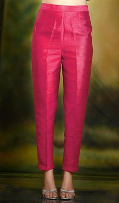 Hot Pink cigarette pants pencil trousers in silk fabric. Churidar Designs, Kurta Designs Women, Blouse Designs, Designer Kurtis, Indian Designer Suits, Lehenga Choli, Anarkali, Salwar Pants, Plazzo Pants