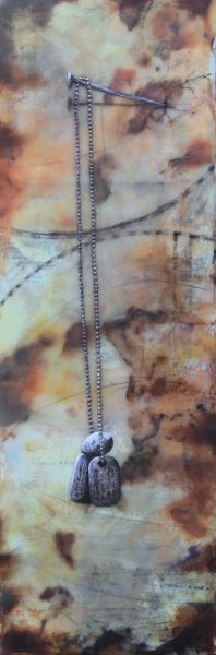 The Oath Encaustic, Used Tea Bags, Graphite on Deep Cradled Birch 6 x 18 inches Commissioned by J. Nunnery, Germany.