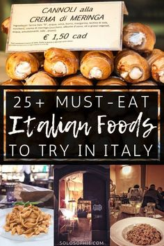 Food in Italy You MUST Eat While in Southern Europe ( Where to Find Authentic Italian food dishes and cuisine): pizza pasta risotto gelato cannoli etc. Cannoli, Southern Europe, Southern Italy, Backpacking Europe, Italian Dishes, Italian Recipes, Italian Meals, Italian Food List, Italian Pasta