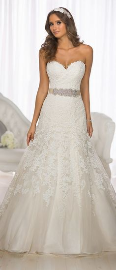 Essense of Australia D1679 - Lace over Dolce Satin designer wedding dress with a sweetheart neckline and traditional cathedral train. I would put lace cap sleeves on this