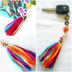 Colorful Tassel Keychain Zip Pull Bag Accessory Decoration shell & pom pom Handmade. (AC1027)
