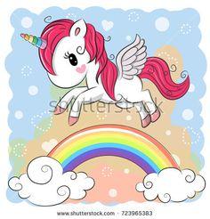 Cute Cartoon Unicorn is flying over the rainbow
