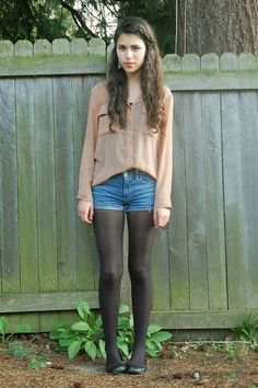 A+Moment+of+Clarity I want her shorts and worn black pantyhose to wear - Opaque tights I want to wear - Young Girl Fashion, Preteen Girls Fashion, Teenage Girl Outfits, Little Girl Fashion, Little Girl Dresses, Kids Fashion, Pantyhose Outfits, Black Pantyhose, Nylons